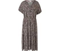 Kleid, Split-Neck, Allover-Print, Kurzarm,