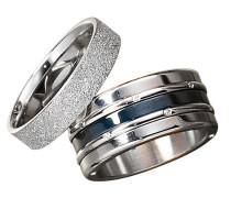 Ring-Set, stahl/blau, mit Zirkonia