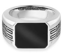 Ring 925/- Sterling Silber rhodiniert oxidiert Onyx