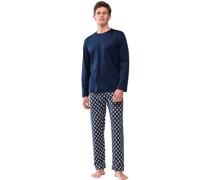 Schlafanzug, lang, Brusttasche, Baumwolle,
