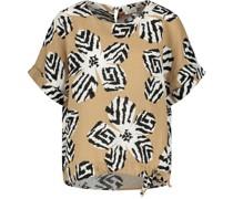 T-Shirt, Knotendetail, Blüten-Muster,