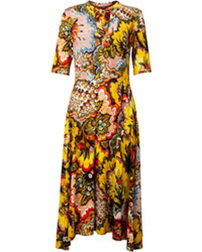 Kleid mit Blumenmuster, /grün, S