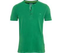 T-Shirt, Henley-Ausschnitt, Stickerei, uni,