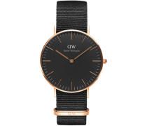 Classic Black Armbanduhr Cornwall, Rose Gold 36 mm DW00100150