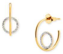 Creolen 925/-Sterling Silber vergoldet Topas