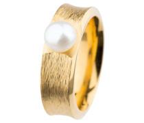 Ring, Edelstahl, Gelb beschichtet, Süßwasser-Buttonperle ø 7 mm R372