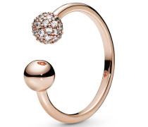 "Ring polished & Pavé Bead ""188316CZ"",  ROSE"