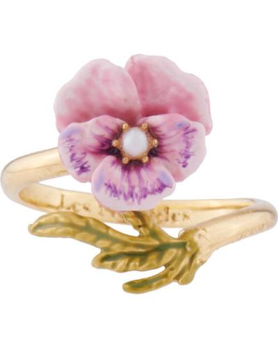 Ring, Stiefmütterchen und Süßwasserperlen, einstellbar