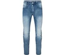 Jeanshose, Regular Fit mit Slim Leg, Waschung,