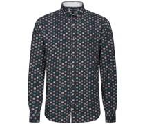 Hemd, Allover-Printangarm, Baumwolle,