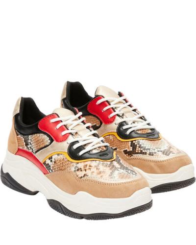 Sneaker, Reptilleder-Optik, Plateausohle,