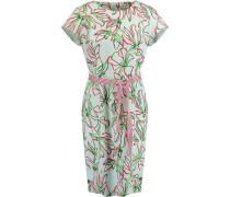 Kleid, kurz, Blumen-Print, Rundhals, Stoffgürtel,