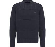Pullover, Rundhals-Ausschnitt, strukturiert, uni, Stickerei,