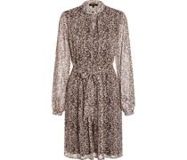Kleidini, Schlüsselloch-Ausschnitt, transparente Ärmel, Taillenband, Tupfen,