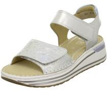 Sandaletten, glänzendes Wording, Keilabsatz,