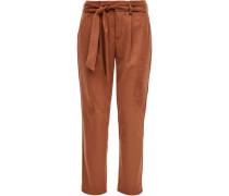 Paperbag-Hose, 7/8, Velours-Optik, Regular Fit, uni,