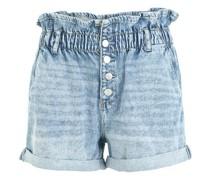 Paperbag Shorts, Knopfleiste, Waschung, Baumwolle,
