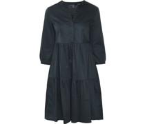 Kleid, 3/4 Arm, V-Ausschnitt, Knopfleiste, Volants, Baumwollstretch,