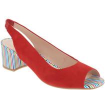 Sandaletten, Rauleder, Blockabsatz, Streifen-Look, Fersen-Gummizug,