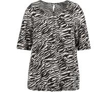 T-Shirt, Zebra-Alloverprint, rückwärtiger Schlüsselloch-Ausschnitt,