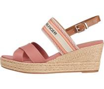 Keilabsatz-Sandaletten, Baumwolle, Kunstleder,