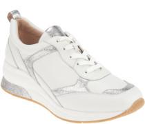 Sneaker, Einsätze im Metallic-Look, Schnürung, höhere Sohle, attraktiv,
