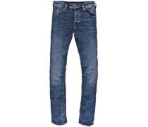 Jeans, Slim Fit, Used-Look, Falten-Optik, Patch,