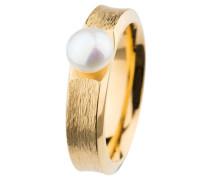 Ring, Edelstahl, Gelb beschichtet, Süßwasser-Buttonperle ø 7 mm R372.5