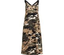 Kleid, mittellang, Camouflage-Muster, A-Linie, ärmellos,