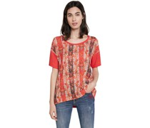 T-Shirt, Frontprint, Viskose-Leinen-Mix,