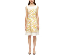 Satin-Kleid, Ärmellos, Kurz, Kreismuster, Taillenbund,