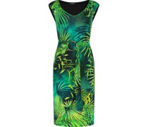 Belted tropic leaf pattern dress