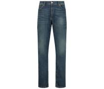 Straight leg wash denim trousers