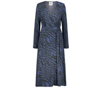 Midi retro print wrap dress