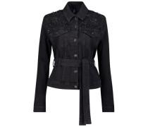Shoulder embellished denim jacket