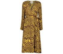 Mustard printed midi wrap dress