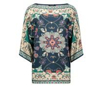 Kimono sleeves ornament printed blouse