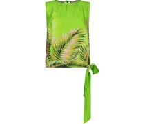 Leaf print sleeveless blouse