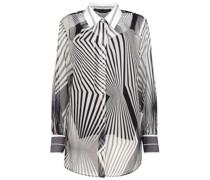 Mixed print semi-sheer blouse