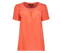 Pleated neck solid top
