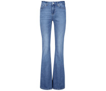 Lightly faded flared jeans