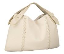 Cream patent fastening hobo bag