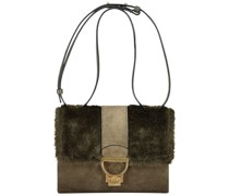 Flapped teddy shoulder bag