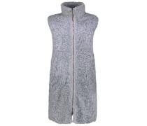 Stone grey sleeveless shearling jacket