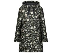 Floral detailed longline zipper jacket
