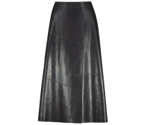 Ultra-posh leather midi skirt