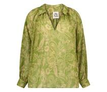 Paisley print silk-blend blouse