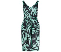 Waist belt dress with leaf print