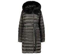 Fur lined hood quilted jacket