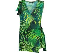 Tropic pattern wrap blouse